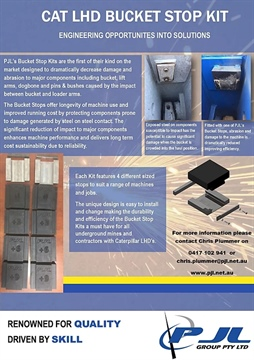 PJL's CAT LHD Bucket Stop Kits Now Available